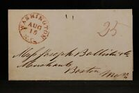 North Carolina: Washington 1844 Stampless Cover, Red CDS, 25c Rate to Boston