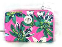 Vera Bradley Turnlock Turn Lock Wallet Clutch Tropical Paradise Pink Hawaiian