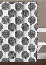 Abby Black White Mandala Fabric Shower Curtain Elegant Boho Style fringe NWOP