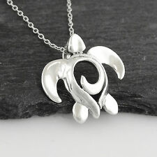 Sea Turtle with Swirl Pendant Necklace - 925 Sterling Silver - Beach Ocean NEW