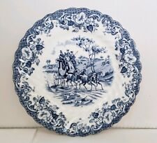 """Johnson Bros Bread Plate Coaching Scenes Blue & White Hunting Country 6.25"""""""