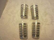 Vtg Glass tumblers set 5 tumblers aluminum grate coaster holder 6 Oz Mid Century
