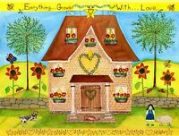 OrIgInAl FoLk ART WaTeRCoLoR PaInTiNg SuNfLoWeRs DoG HeArT PiG StAr HoUsE CaT