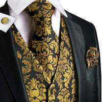 USA Men's Waistcoat Vest Golden Yellow  Black Floral Tie Silk Necktie Hanky Set