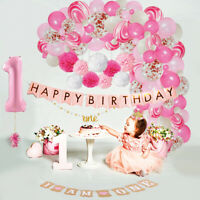 1st Birthday Girl Baby Decorations WITH Crown First Birthday Party Supplies