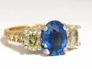 GIA Certified 5.42ct Natural No Heat Sapphire Yellow Diamonds Ring 18kt unheated