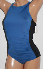 * Calvin Klein Colorblocked Blue Black High Neck One Piece Swimsuit Sz 12 #K20