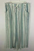 Show Me Your Mumu Peterson Pants Medium Blue White Striped Wide Leg Cropped M