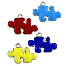 Autism Awareness Charms Puzzle Piece Colorful Aspergers Ribbon Lot of 8