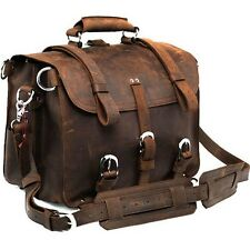 "HOT Saddle Leather Satchel Shoulder Briefcase Messenger Backpack 17"" Laptop Bags"