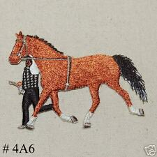 1PC~PACING HORSE~IRON ON EMBROIDERED APPLIQUE PATCH