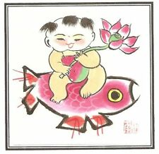 NEW CHINESE Original Painting Big Fu 大阿福 鲤鱼2 15cmx15cm Frame not included