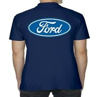 Mens Licensed Ford Polo Shirt Blue Logo Performance Modified RS ST GT Clothing