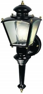 Wall Porch Light Lantern Black Brass Motion Activated Four-Sided Coach Style