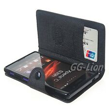 Sony Xperia C HSPA+ C2305 S39H Black Leather Wallet Case