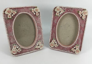 Dezine Hand Painted Picture Frames Pink With Roses Set of 2