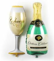 """40"""" Champagne Glass and Bottle Foil Balloon Large Helium Wedding Birthday Party"""