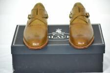 NIB $850 BARKER BLACK Motto Monk Strap Crossbone Perf Tip Burnt Acorn Shoes 8 D