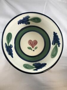 """Gail Pittman 11"""" Serving Bowl Hearts and Flowers Design 4"""" Deep - Signed * (D3)"""