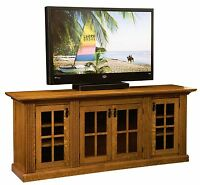 "Amish 78"" Mission Weston TV Console Cabinet Solid Wood Glass Doors"