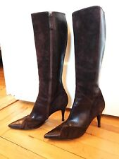 Hugo Boss Brown Suede & Leather Knee-High Boots SZ 40/10
