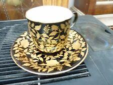 Black with Floral Gold Design Cup and Saucer Vintage