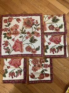 April Cornel Set Of 5 Napkins Cotton Flower Cranberry Design NWT