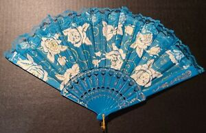 Chinese fan party blue glittered glitzy roses accordion folded