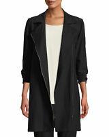 NEW Eileen Fisher Washable Stretch Crepe Moto Jacket Black size PL #C541