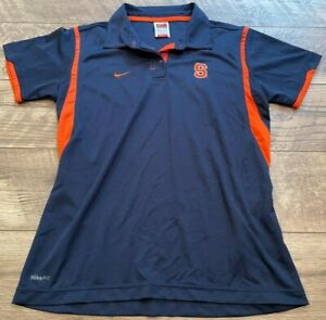 NIKE fitDRY Team Blue SYRACUSE Orangemen Gym Yoga Athletic Polo Shirt Top wmns M