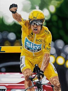 Bradley Wiggins  70x90 cms limited edition cycling art print by Colin Carter