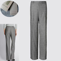 New PER UNA Italian WOOL Blend TAILORED Wide Leg TROUSERS ~ 14 Med. ~ GREY Check