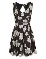Monsoon New Black Silver Jacquard Skater Party Dress Size 8 10 12 Bnwot Rrp=£69