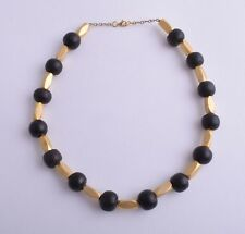 Vintage  middle eastern gold plated silver beads/  black coral beads Necklace