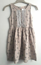 BNWT H&M Lovely Beige Party Dress With Silver Lace Butterfly Sequines 6-8 Years
