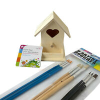 Kids Fun Play Blank Wood Birdhouse Paint Your Own Nesting Box Art Craft Brushes