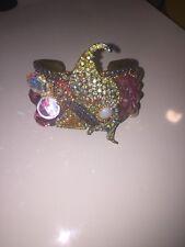 Runway Fancy Vintage Brass Handmade Aurora Borealis Rhinestone Cuff Bracelet
