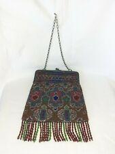 Alte Handtasche mit Glasperlenstickerei und Metall - Bügelverschluss, 20er