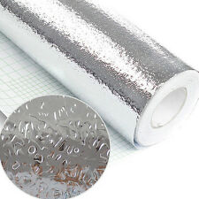 1 Roll Kitchen Self-adhesive Foil Stickers Waterproof Anti-oil Silver Wall Paper