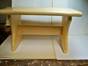 """8"""" Handcrafted Wooden Step Stool, 8"""" high,9"""" long Pine Coated Polyurethane"""