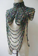 Opalescent Black Drag Queen Showgirl Cabaret  COSTUME Jewelry Choker Necklace
