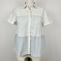 Madewell The New Denim Project Top 2XS Blue Ivory Cotton Tiered Button-Front