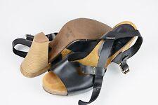 Sandalias  de tacón para mujer de piel color negro