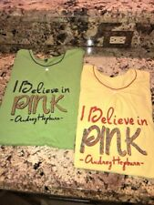 Audrey Hepburn Quotes I BELIEVE IN PINK Size Large (Lot of 2)  BIN1