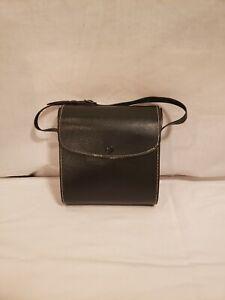 Vintage Black Binocular Case, Adjustable Strap, Leather (?), Fabric Lined, Used