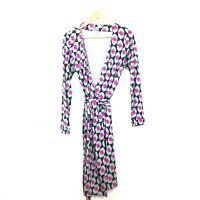 Diane Von Furstenberg Wrap Dress 8 New Julian Green Pink Print Silk DVF Women's