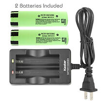 Charger + 2 x Panasonic NCR18650BE Rechargeable Battery 3200mAh 3.7V Flat Top