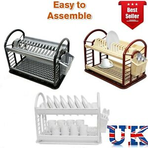 2 Tier Dish Drainer Rack Storage Drip Tray Sink Drying Draining Plate Bowl Spoon