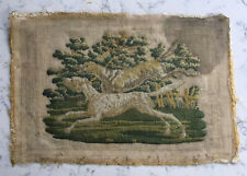 Antique Dog Hound Scene Needlepoint Picture Textile Folk Art Needlework