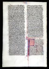 ILLUMINATED MANUSCRIPT MEDIEVAL BIBLE LEAF - c. 1250-75, PARIS - LARGE INITIALS